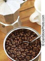 caffè, cafetiere, tazza, alto, fagioli, vista