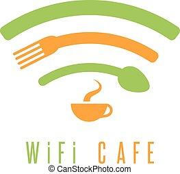 caffè, caffè, illustrazione, tazza, wi-fi, forchetta, semplice, cucchiaio