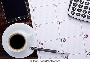 caffè, calendario, ufficio