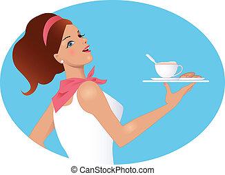 caffè, cameriera, tenendo tazza