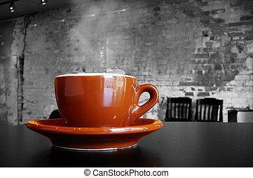 caffè, cappuccino, tazza, interno, mattone, caffè, piattino