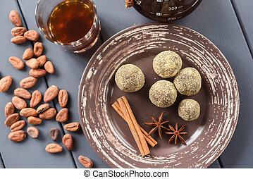 caffè, caramelle, sano, cioccolato, cacao, crudo, fagioli, spezie