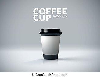 caffè, carta, mockup., tazza