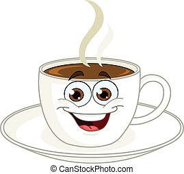 caffè, cartone animato, tazza