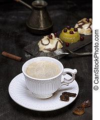 caffè, ceramica, nero, tazza bianca