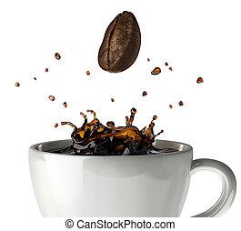 caffè, chiudere, corona, su, fagiolo, schizzo, fondo, giù., ...