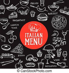 caffè, cibo, sagoma, flyer., menu, ristorante, design.