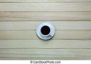 caffè, cima, legno, nero, tavola., vista