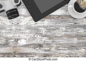 caffè, cima, posto lavoro, macchina fotografica, tavola, vista