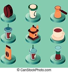 caffè, colorato, isometrico, icone