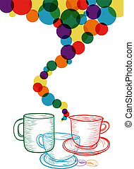 caffè, colorito, set, concetto