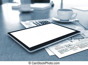 caffè, come, tavoletta, Tazza,  -,  ipade,  PC, finestra, Posto lavoro, fondo