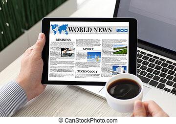 caffè, computer, tavoletta, schermo, quaderno, presa a terra, mondo, notizie, uomo