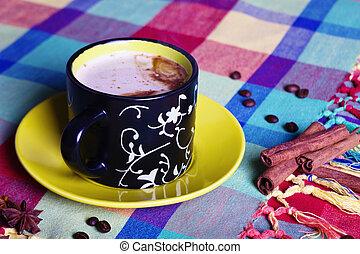 caffè, con, cannella, e, anisetree, su, variopinto, tovaglia