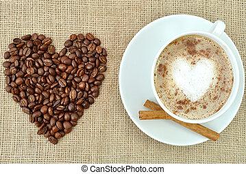 caffè, con, forma cuore