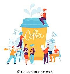 caffè, concetto, idea, illustrazione, rottura, vettore