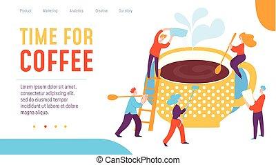 caffè, concetto, lavorativo, persone., illustrazione, creativo, vettore, tempo