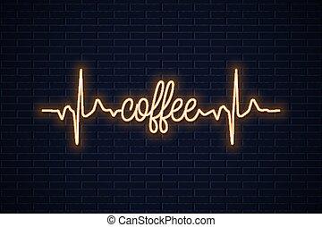 caffè, concetto, parete, neon, disegno, fondo