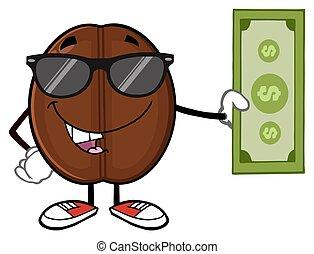 caffè, conto, dollaro, fagiolo, presa a terra