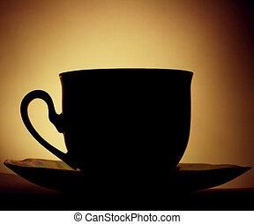 caffè, controluce, tazza