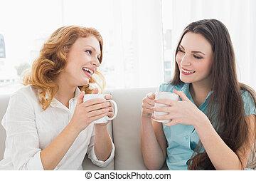 caffè, conversazione, femmina, casa, godere, amici