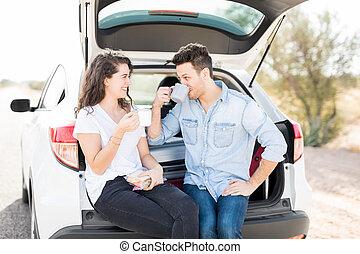 caffè, coppia, rottura, mentre, viaggiare, detenere