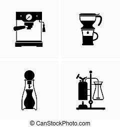 caffè, cottura, preparare, congegni