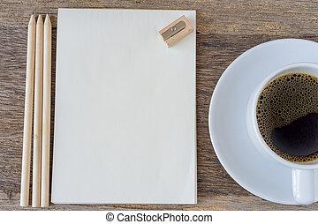 caffè, cup., legno, quaderno, fondo, aperto