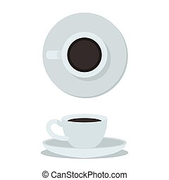 caffè, cup., tazza, cima, isolato, illustrazione, fondo., vettore, bianco, vista laterale