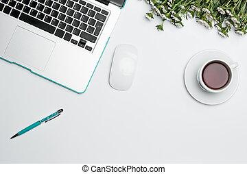 caffè, cup., ufficio, computer, provviste, scrivania, tavola, fiori