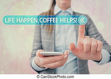 caffè, detenere, concetto, scrittura, mentre, problemi, bere...