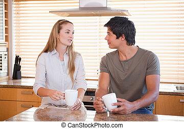 caffè, detenere, coppia, tazza