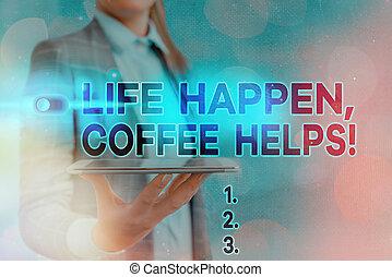 caffè, detenere, mentre, problemi, bere, segno, helps., ...