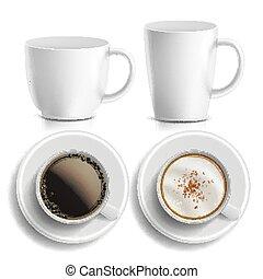 caffè, digiuno, coffee., classico, cibo, tazza, isolato, illustrazione, differente, caldo, cima, aromatico, vector., types., mug., bianco, campanelle, vista., beverage., lato