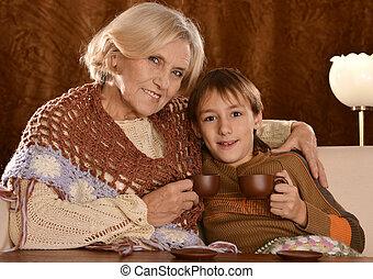 caffè, donna, anziano, nipote, dring