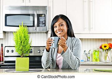 caffè, donna, cucina, tazza