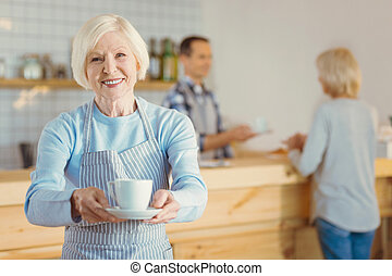 caffè, donna, offerta, tazza, lei, gioioso, felice