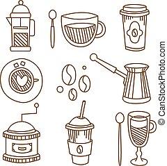 caffè, elementi, illustration., set., vettore, handdrawn