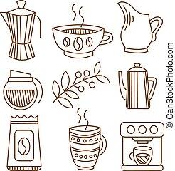 caffè, elementi, set, lineare, illustrazione, vettore, handdrawn, style.