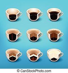 caffè, espresso, strato, bibite
