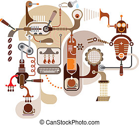 caffè, fabbrica, -, vettore, illustratio