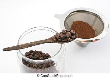 caffè, fondo, fagioli, suolo, bianco