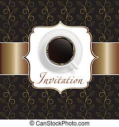caffè, fondo, invito