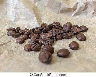 caffè, foto, fondo., carta, closeup, fagioli