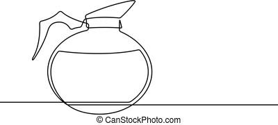 caffè, grafico, vaso, continuo, vettore, linea