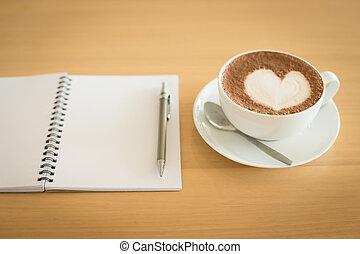 caffè, grunge, tazza, legno, fondo., quaderno
