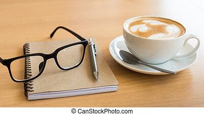 caffè, grunge, tazza, legno, quaderno, fondo