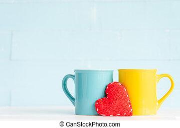 caffè, heart., legno, fatto mano, fondo, tavola, campanelle,...