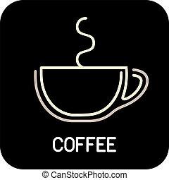 caffè, ico, tazza, -, isolato, vettore