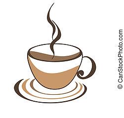 caffè, icona, tazza